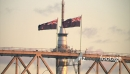 Sunset Auckland Harbour Bridge Flags Aerial 1 24742