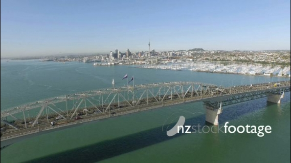 Auckland Waitemata Harbour and CBD Reverse Flyover Bridge 2 24834