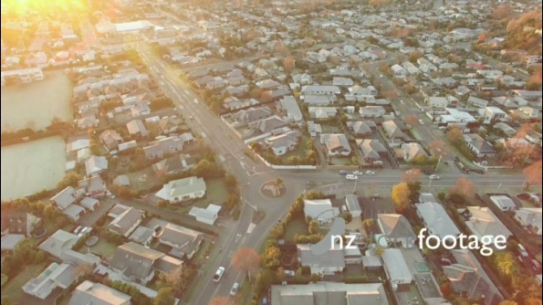 Christchurch Aerial Sunrise City urban panup to E looking Over H 24917
