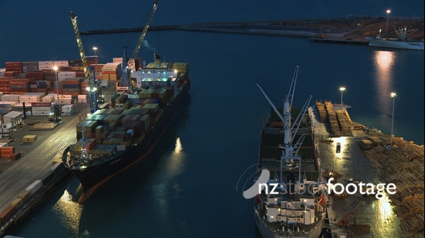 Two Container Ships at Night TIMELAPSE 3029
