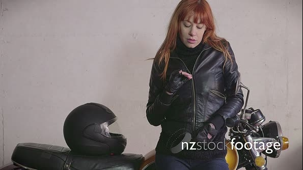 Biker Girl Woman With Leather Jacket On Motorcycle Motorbike 11022