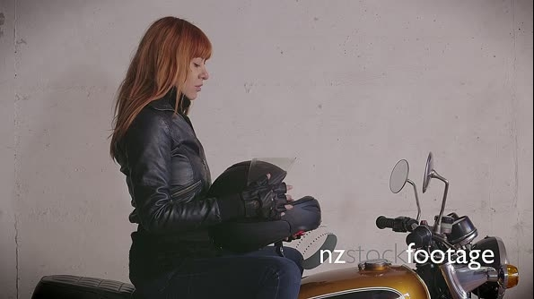 Motorcycle Motorbike Happy Redhead Girl Woman Biker Riding Bike  11026