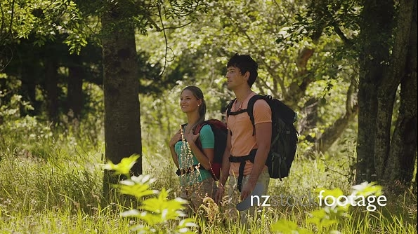 Man And Woman Walking In Forest For Fun And Recreation 11975