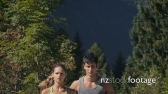 Slow Motion With People Jogging On Mountain Trail For Sport 11979
