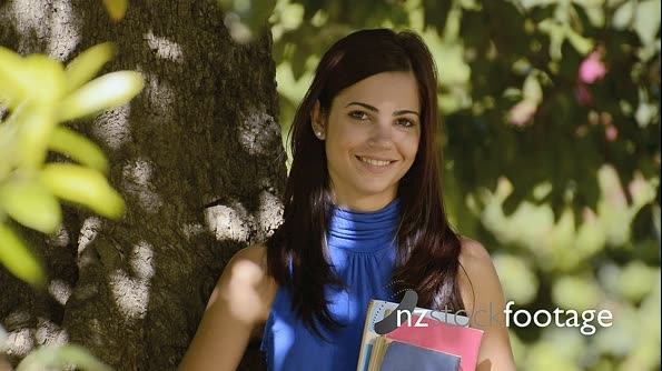 Young Woman With University Books In Park 12225