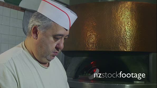 Man At Work Chef Making Pizza In Italian Restaurant Kitchen 12863