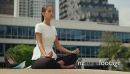 Relax Business Woman Yoga Lotus Position Outside Office Building 14300