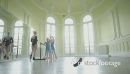Sliding MLS Female Ballet Dancer instructs three young Ballerina 16401