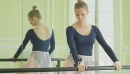 MS Female Ballet Dancer stretches using the Ballet barre 16417