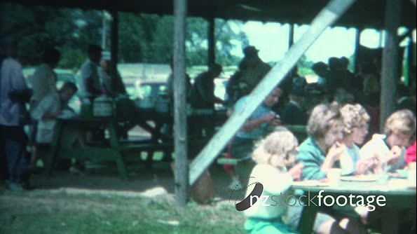 (8mm Vintage) 1962 Summer Outdoor Community Picnic Town Breakfast 19585