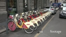 Bicycles Cycles Bikes Parking Streets Of Milan Milano Italy Italia 20237