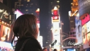 Female looking at neon signs at TIme square, New York, USA 20793