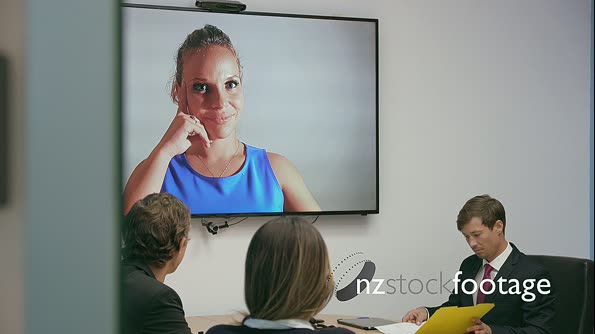 6 Business People In Office Meeting Room Doing Video Conference 20868
