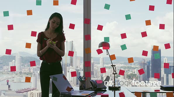 3 Business Person Attaching Sticky Notes On Large Window 20896