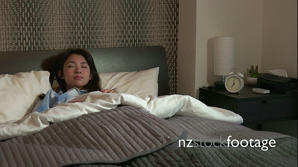 Morning Routine Young Asian Woman Waking Up Snoozing Alarm Clock 20925