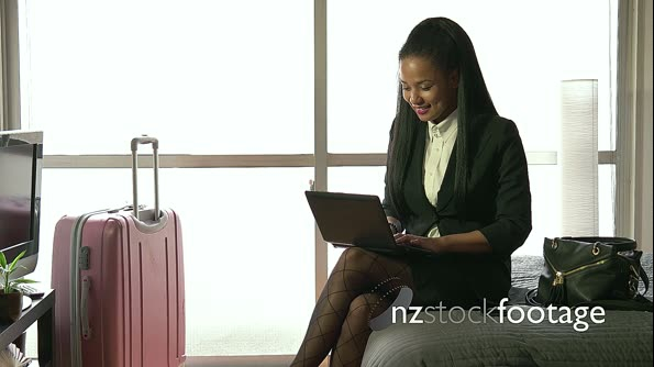 Multi-ethnic Businesswoman Woman Working With Computer Hotel Room Business Travel 20961
