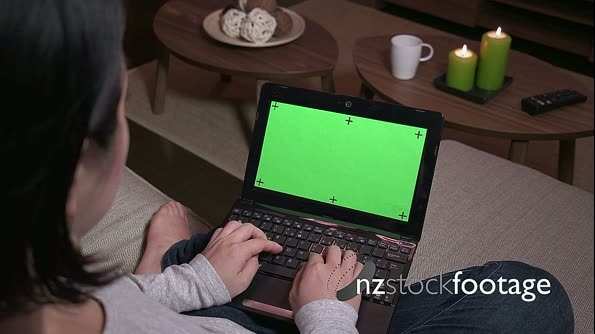 Green Screen Monitor Laptop Computer Pc Woman Typing On Keyboard 21198