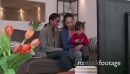 Happy Gay People Homosexual Couple Women Watching TV With Daughter 23638