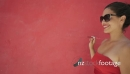 Slowmotion Woman In Red Clothes Smokes Electronic Cigarette E-Cig 24464