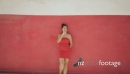 Slowmotion Portrait Woman Smoking Electronic Cigarette E-Cig Red Wall 24466