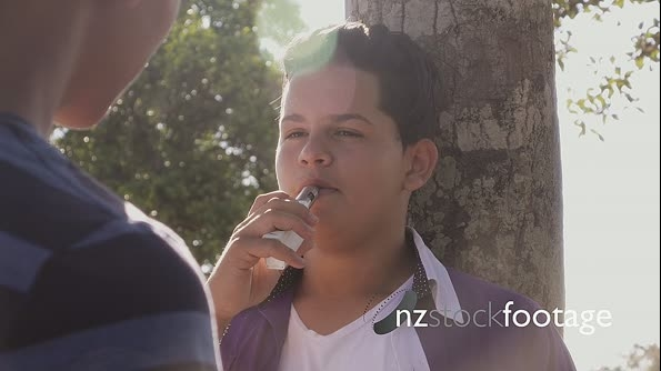 Slow Motion Teenager Boy Smoking E-cig Electronic Cigarette 25455