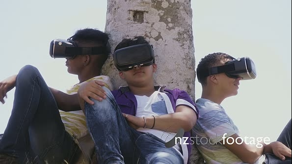 Multiethnic Group Of Teenagers Playing Virtual Reality Outdoor 25468