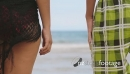 Slowmotion Teenager Couple Holding Hands On Beach 25530