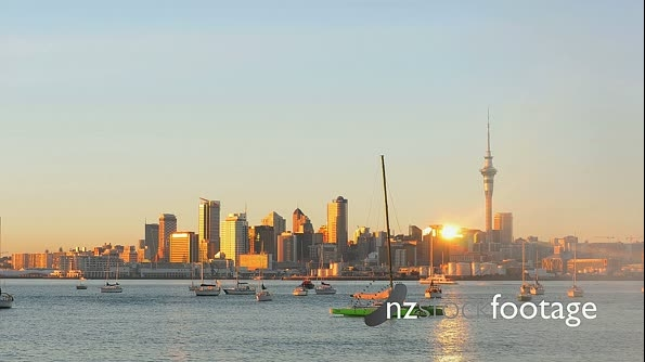 Auckland City Dawn From Northcote Time-lapse HD 25536