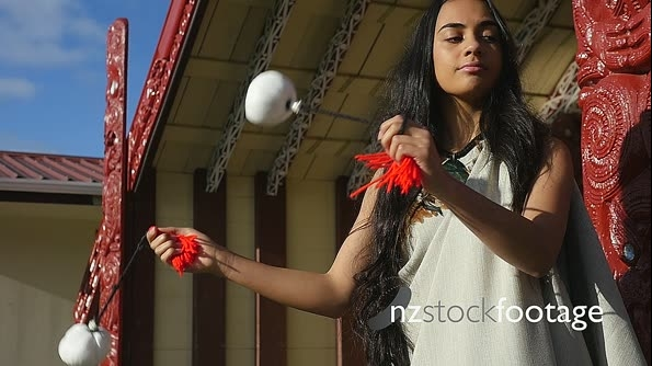 Young Maori Woman Poi Dancer on Marae Slow Motion T6 25574