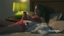 Woman And Dog In Bed Texting Mobile Phone At Night 25650