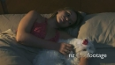Woman Stroking Dog In Bed Sleeping At Night 25655