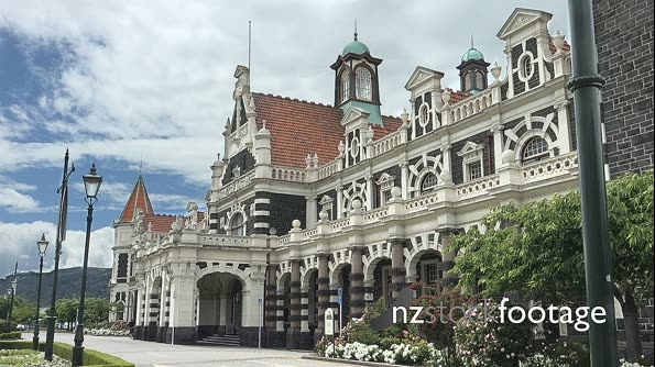 Dunedin Railway Station, mountains in distance 25675