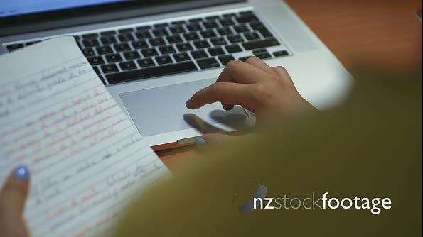 Girl College Student Doing Web Search On Laptop At Night 25789
