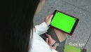 Tablet Ipad Green Screen Monitor Asian Businesswoman Business Woman Working 26683