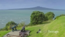 aerial of canons on top of north head looking toward rangitoto island, Auckland New Zealand 26748