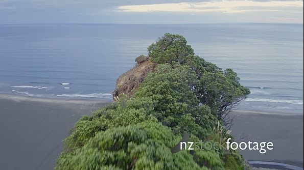 Aerial drone over cliff reavealing karekare beach, Auckland, New Zealand 26769