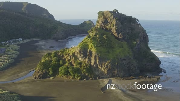 Aerial over beach at piha towards lion rock, Auckland, New Zealand 26808