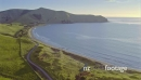 Aerial of farm land and beach in the Coromandel, New Zealand 26811