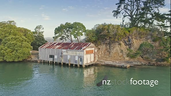 Aerial of old boat shed and Yachts in Opua, Bay of Islands, New Zealand 26935