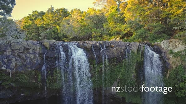 Aerial flying over rainbow falls in KeriKeri, New Zealand 26951