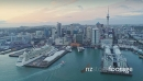 Aerial View Of ferry entering Auckland City Skyline, New Zealand 26957