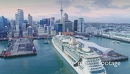 Auckland City Skyline, Aerial View Of cruise ship entering New Zealand 26958