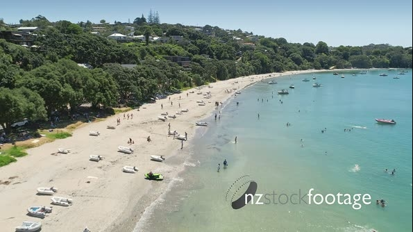 Aerial flying over Oneroa bay, waiheke island, Auckland, New Zealand 26979