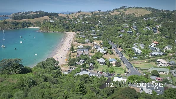 Aerial flying over palm beach on waiheke island, Auckland, New Zealand 26981