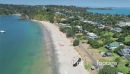 Aerial flying over Oneroa bay, waiheke island, Auckland, New Zealand 26983