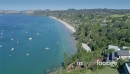 Aerial flying over Onetangi beach on waiheke island, Auckland, New Zealand 26985