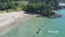 Aerial flying over little Oneroa beach, waiheke island, Auckland, New Zealand 26991