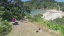 Aerial flying over little Oneroa beach, waiheke island, Auckland, New Zealand 27016