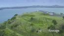 Aerial of Devonport northhead looking out to Auckland Skyline, New Zeland 27165