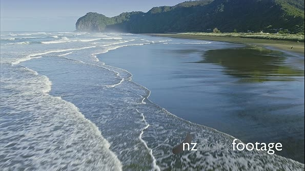 Aerial over ocean surf on piha beach, Auckland, New Zealand 27166